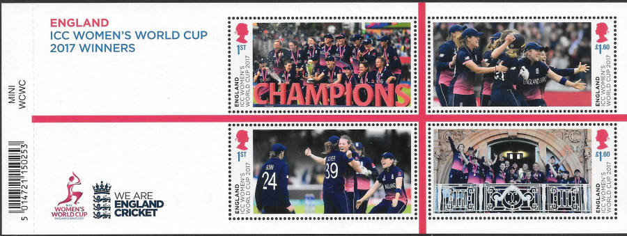 MS4275 ICC Women's World Cup 2017 Winners Barcoded Miniature Sheet