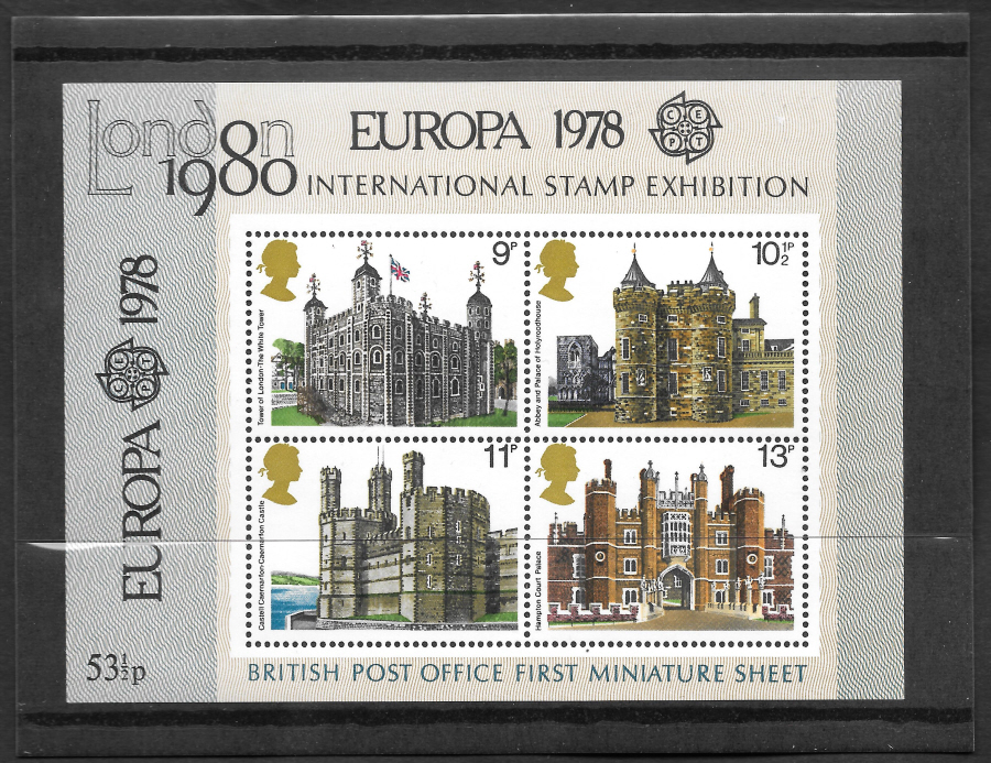 MS1058 Europa Overprint 1978 British Architecture Royal Mail Miniature Sheet