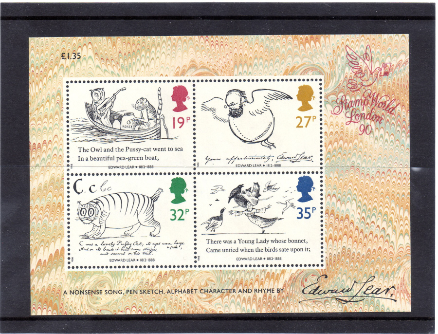 MS1409 1988 Edward Lear Royal Mail Miniature Sheet