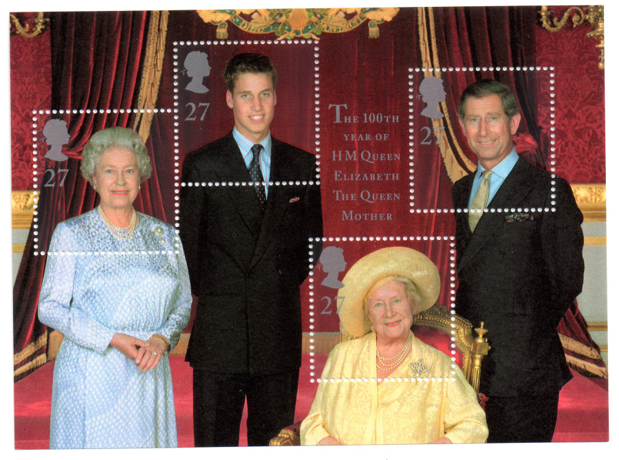 MS2161 2000 Queen Mother's 100th Birthday Royal Mail Miniature Sheet