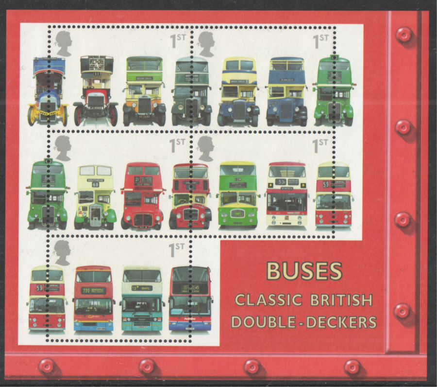 MS2215 2001 Double Decker Buses Royal Mail Miniature Sheet