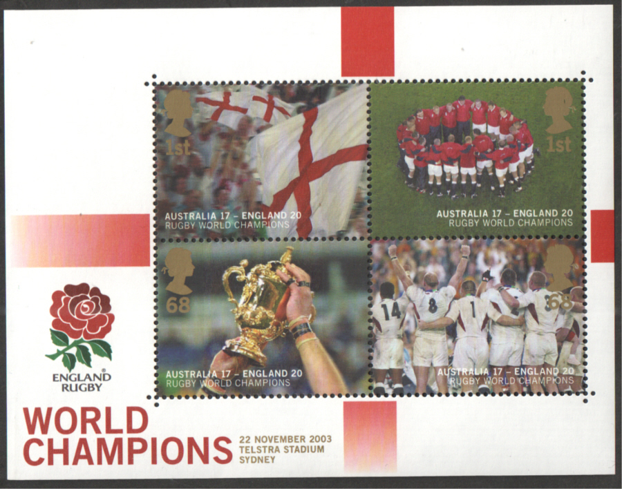 MS2416 2003 England Winners Rugby World Cup Royal Mail Miniature Sheet