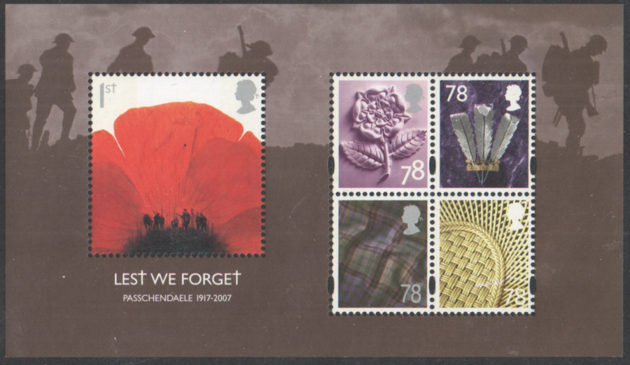 MS2796 2007 Lest We Forget (2nd Issue) Royal Mail Miniature Sheet