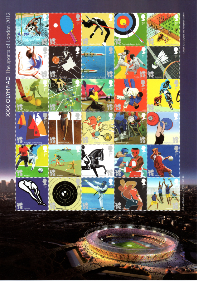 "MS3204a 2011 Olympic Games Royal Mail Composite ""Miniature"" Sheet"