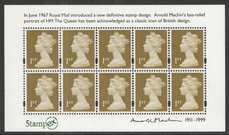 MS3222 Stampex Overprint 2011 Arnold Machin Birth Centenary Royal Mail Miniature Sheet