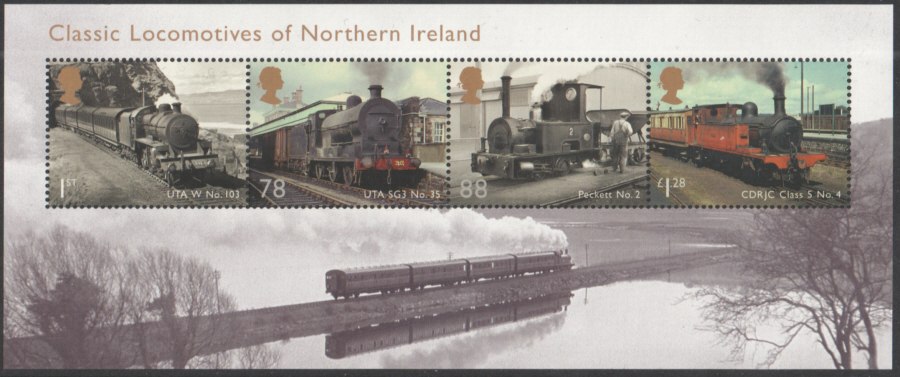 MS3498 2013 Classic Locomotives of Northern Ireland Royal Mail Miniature Sheet