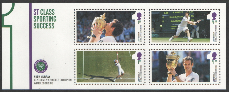 MS3511 2013 Andy Murray Wimbledon Champion Royal Mail Miniature Sheet