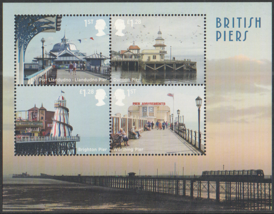 MS3641 2014 Seaside Architecture: British Piers Non-Barcoded Royal Mail Miniature Sheet