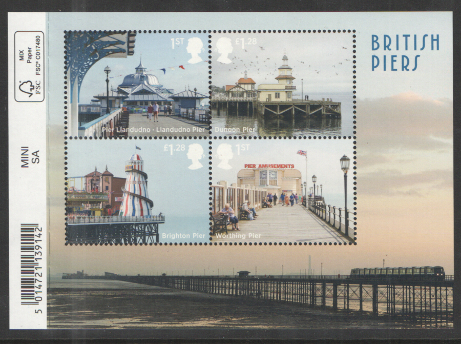 MS3641 2014 Seaside Architecture: British Piers Barcoded Royal Mail Miniature Sheet