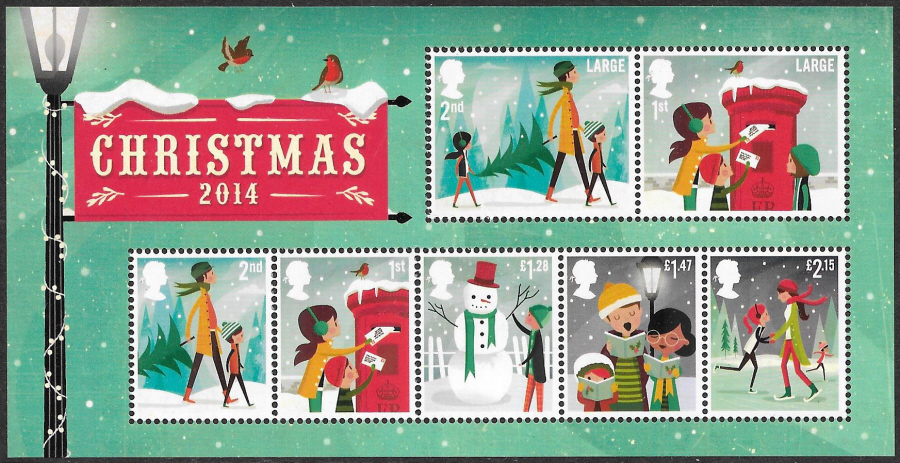 MS3657 2014 Christmas Non-Barcoded Royal Mail Miniature Sheet