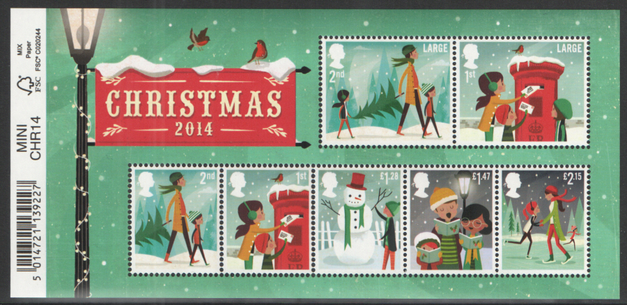MS3657 2014 Christmas Barcoded Royal Mail Miniature Sheet