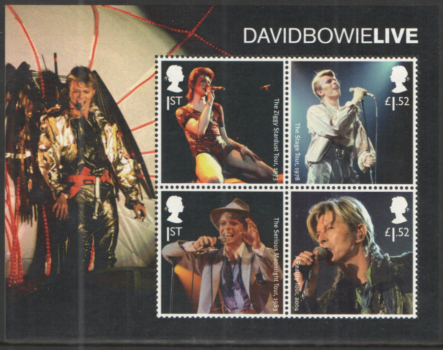 MS3939 2017 David Bowie Non-Barcoded Miniature Sheet