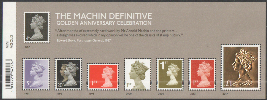 MS3965 2017 Machin Definitive Golden Anniversary Barcoded Miniature Sheet