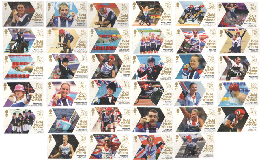Full set of 34 London 2012 Paralympic Gold Medal Winner single stamps