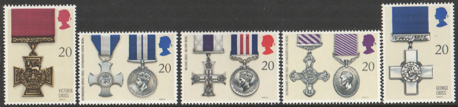 SG1517 / 21 1990 Gallantry Awards unmounted mint set of 5