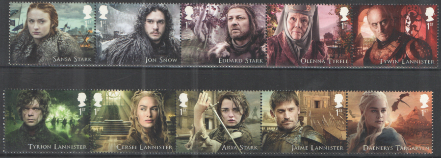 SG4033 / 42 2018 Game of Thrones unmounted mint set of 10