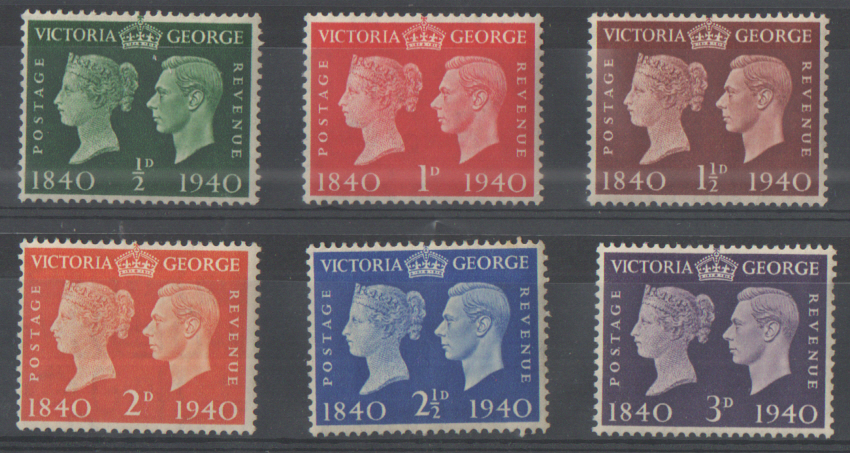 SG479 / 484 1940 Penny Black Centenary unmounted mint set of 6