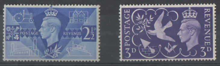 SG491 / 492 1946 Victory unmounted mint set of 2