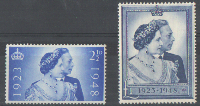 SG493 / 494 1948 Royal Silver Wedding unmounted mint set of 2