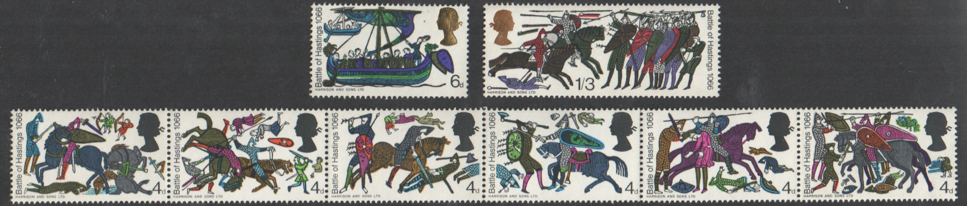 SG705p / 712p 1966 Battle of Hastings (Phosphor) unmounted mint set of 8