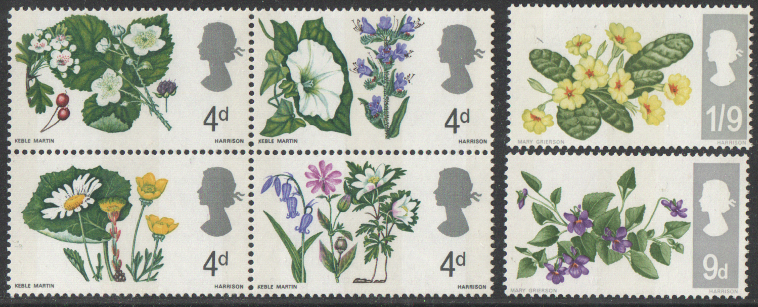 SG717p / 722p 1967 British Flowers (Phosphor) unmounted mint set of 6