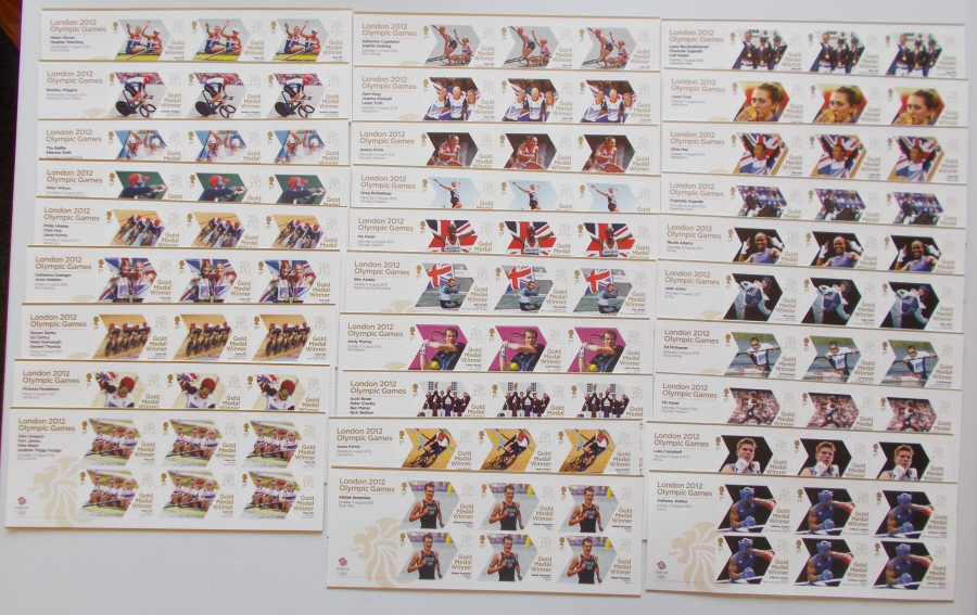 Full set of 29 London 2012 Olympic Gold Medal Winner Miniature Sheets