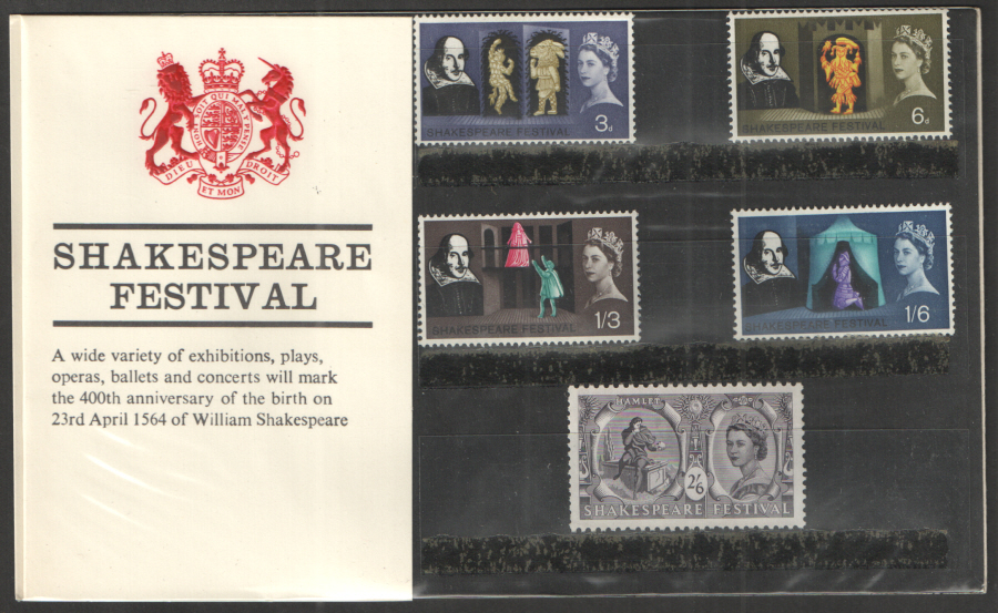 1964 Shakespeare Festival Type B - Solid Red Collar Presentation Pack