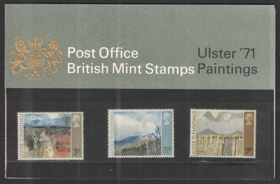 1971 Ulster Paintings Type B - Chain Visible Royal Mail Presentation Pack 26a