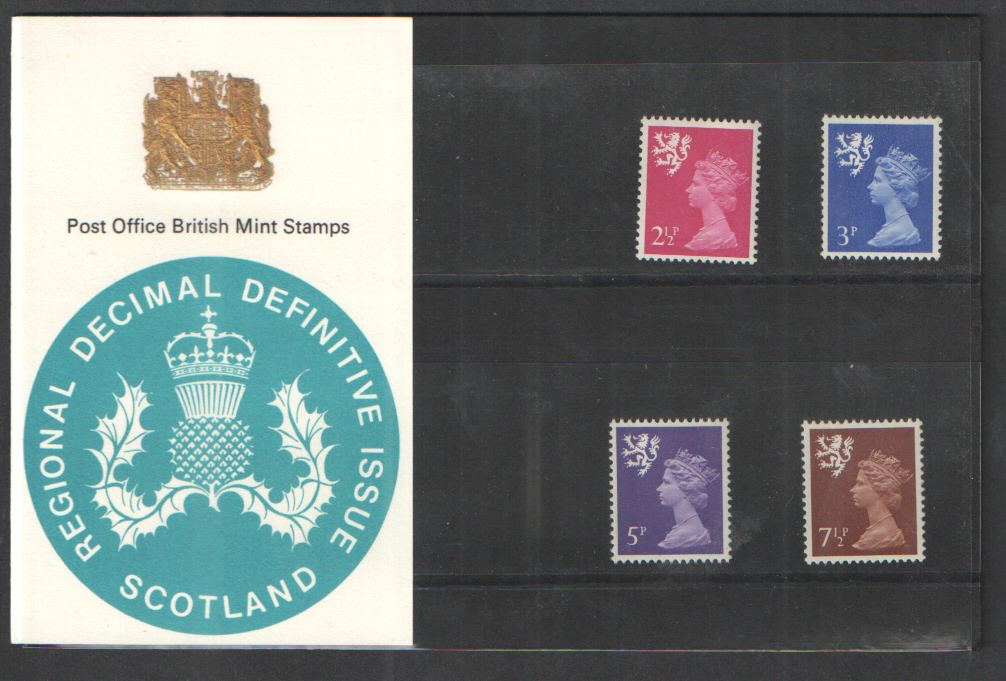 1971 Scotland Definitive Royal Mail Presentation Pack 27- Double print of crest.