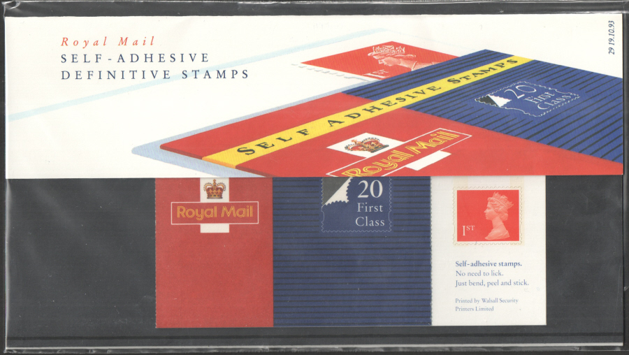 1993 Type B - Pack number missing MG1 / SB1(1) Self Adhesive Machin Definitive Royal Mail Presentation Pack 29