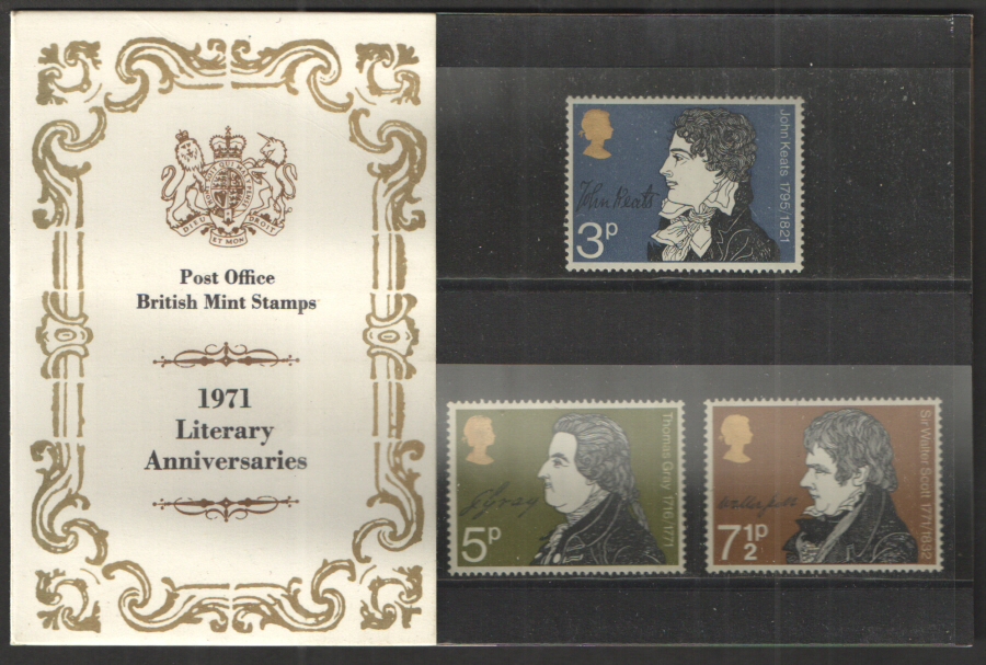 1971 Literary Anniversaries Royal Mail Presentation Pack 32