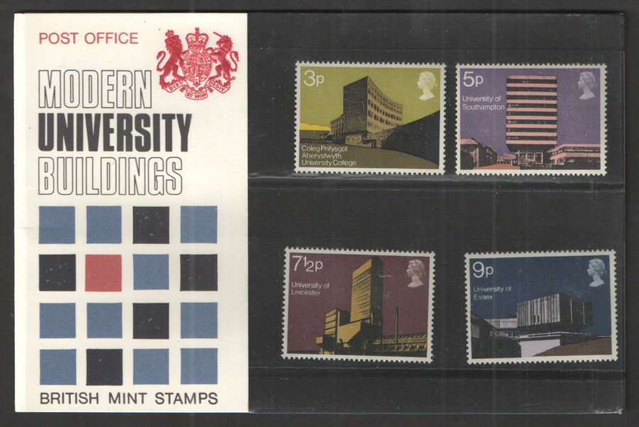 1971 Modern Universities Type B - Two Tufts Royal Mail Presentation Pack 33