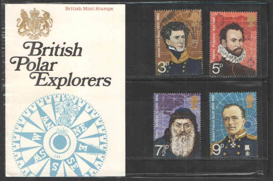 1972 Polar Explorers Type A - Solid Crown, Flower Missing Royal Mail Presentation Pack 39