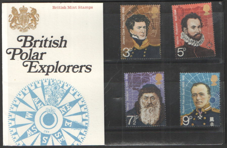 1972 Polar Explorers Type B - Solid Crown, Flower Visible Royal Mail Presentation Pack 39