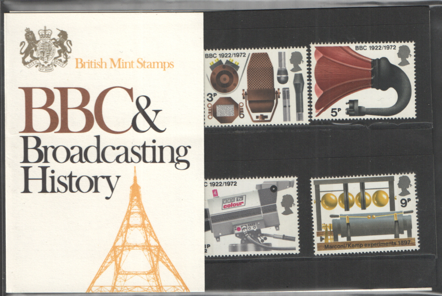 1972 Broadcasting Anniversaries Type A - Gold on White Royal Mail Presentation Pack 43