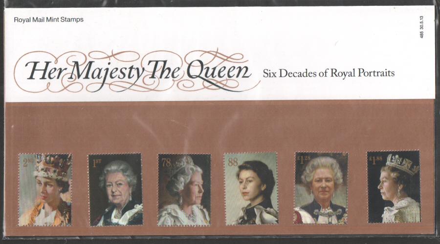 2013 QEII - 60 Years of Royal Portraits Royal Mail Presentation Pack 485