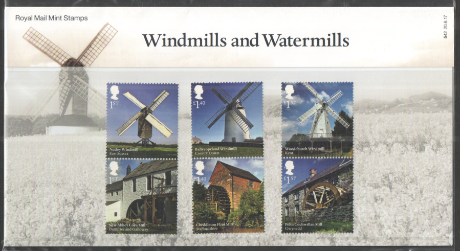 2017 Windmills & Watermills Royal Mail Presentation Pack 542