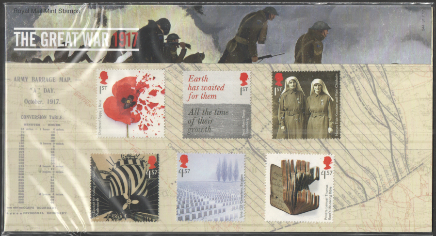 "2017 ""The Great War 1917"" Royal Mail Presentation Pack 544"