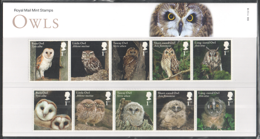 2018 Owls Royal Mail Presentation Pack 555
