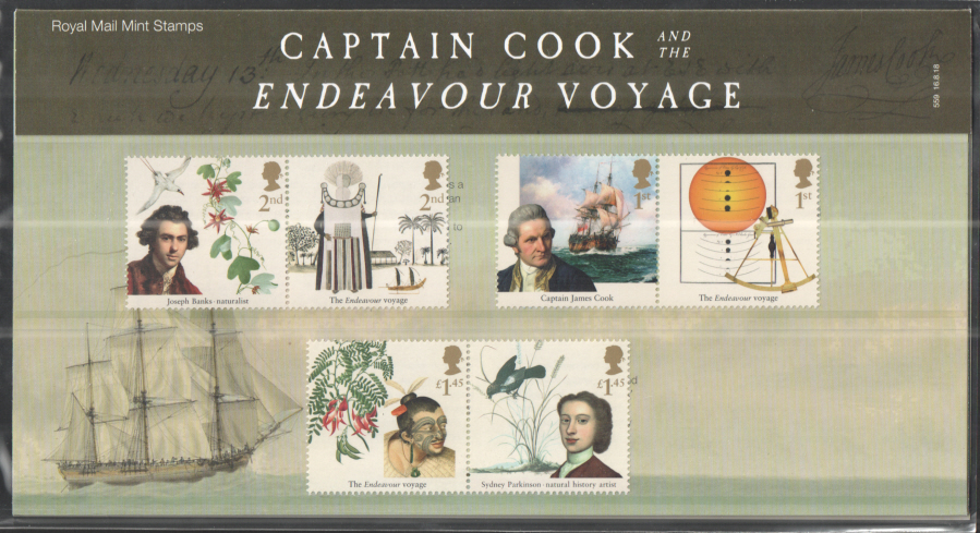 2018 Captain Cook & Endeavour Royal Mail Presentation Pack 559