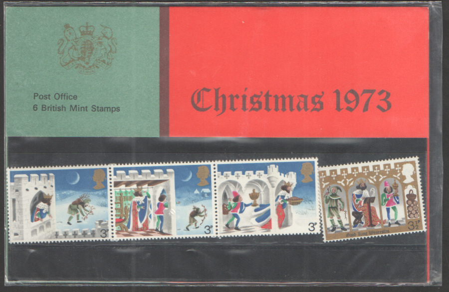 1973 Christmas Type A - 4mm Red Band Royal Mail Presentation Pack 57