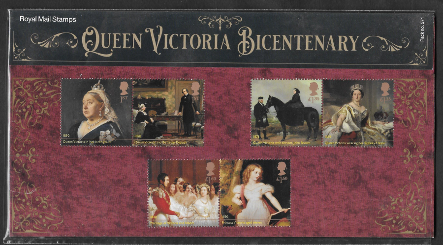 2019 Queen Victoria Bicentenary Royal Mail Presentation Pack 571