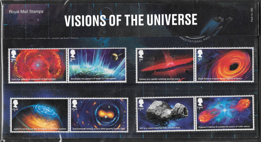 2020 Visions Of The Universe Royal Mail Presentation Pack 582