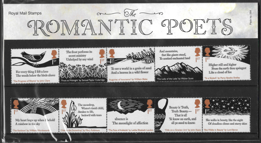 2020 Romantic Poets Royal Mail Presentation Pack 584