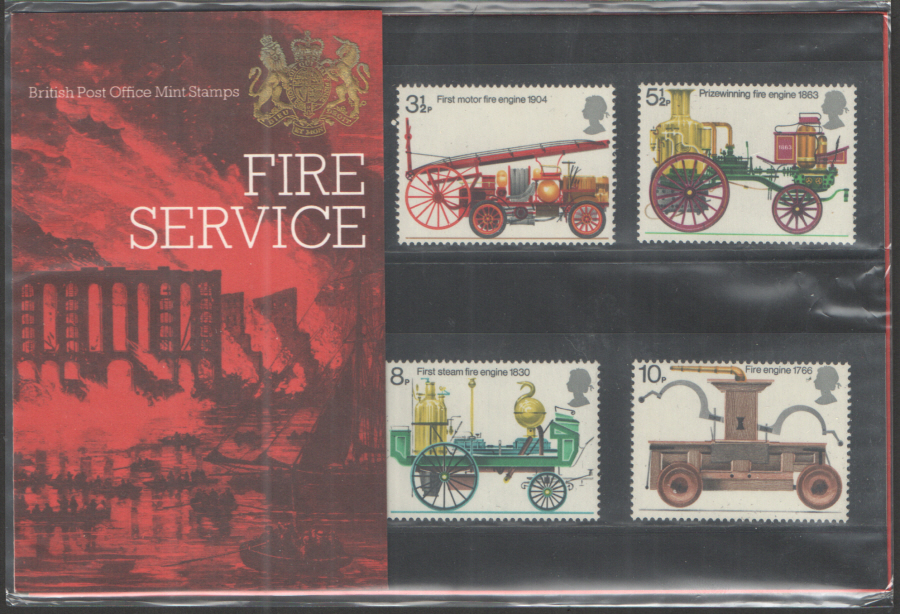 1974 Fire Service Type B - Flower visible Royal Mail Presentation Pack 60