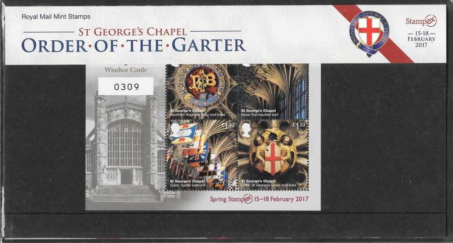 2017 Order of the Garter Spring Stampex Limited Edition Presentation Pack