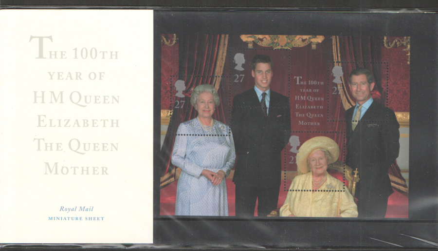 2000 Queen Mother 100th Birthday Miniature Sheet Presentation Pack M04