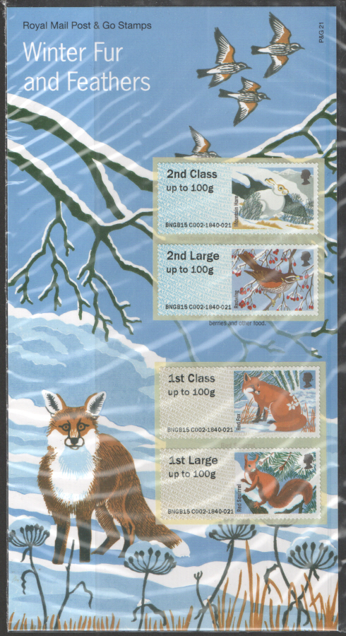 2015 Winter Fur & Feathers Post & Go Royal Mail Presentation Pack P&G21