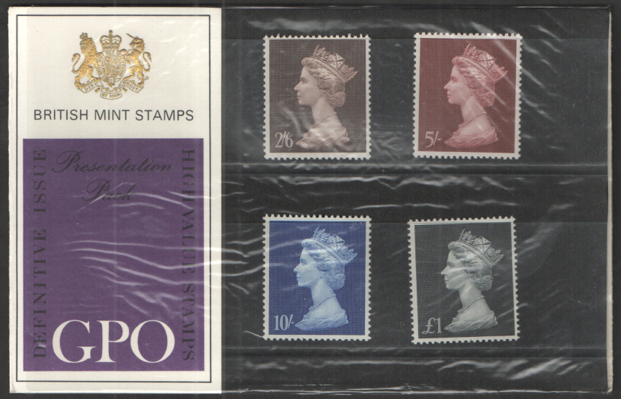 "1969 ""Type B: Two Tufts"" Pre-Decimal High Value Machin Definitives Presentation Pack"