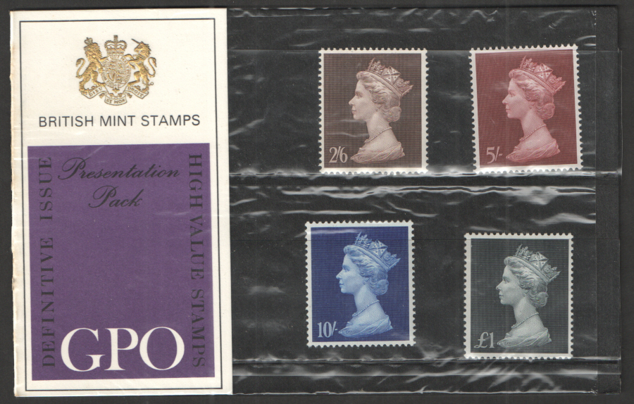 "1969 ""Type A: One Tuft"" Pre-Decimal High Value Machin Definitives Presentation Pack"